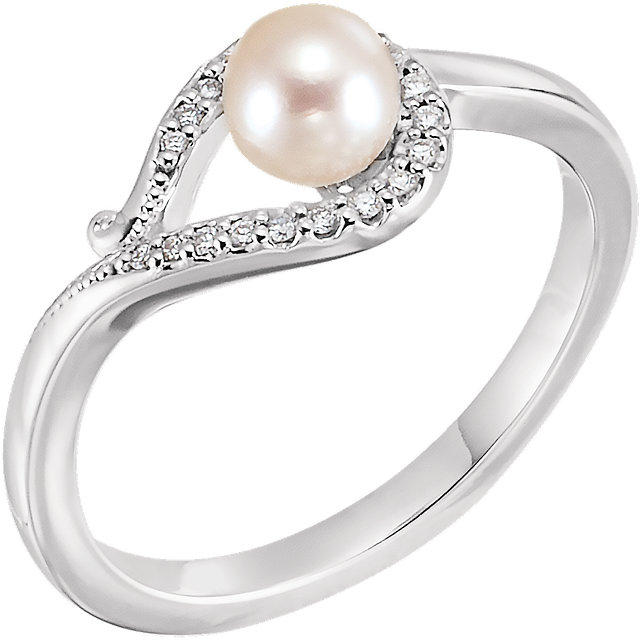 Genuine 14 KT White Gold Freshwater Cultured Pearl & .07 Carat TW Diamond Bypass Ring