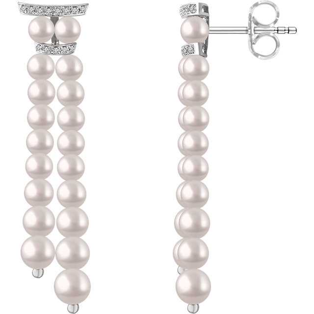 Contemporary 14 Karat White Gold Freshwater Cultured Pearl & .07 Carat Total Weight Diamond Earrings