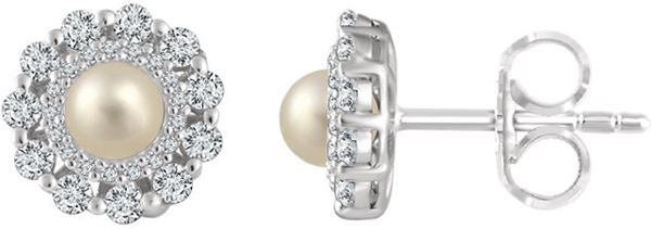 14 Karat White Gold Freshwater Cultured Pearl & 1/2 Carat Total Weight Diamond Earrings