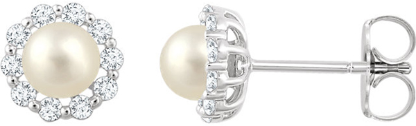 14 Karat White Gold Freshwater Cultured Pearl & 1/3 Carat Total Weight Diamond Earrings