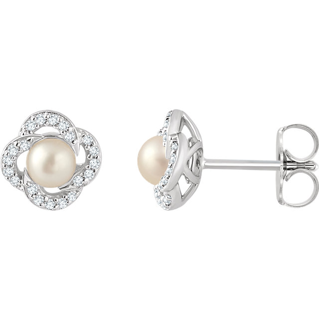 Must See 14 KT White Gold Freshwater Cultured Pearl & 0.17 Carat TW Diamond Earrings