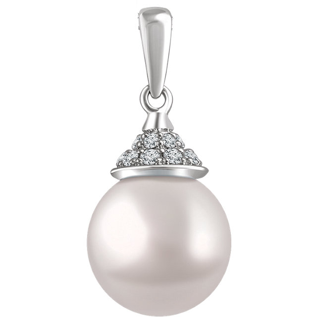 Surprise Her with  14 Karat White Gold Freshwater Cultured Pearl & 0.12 Carat Total Weight Diamond Pendant