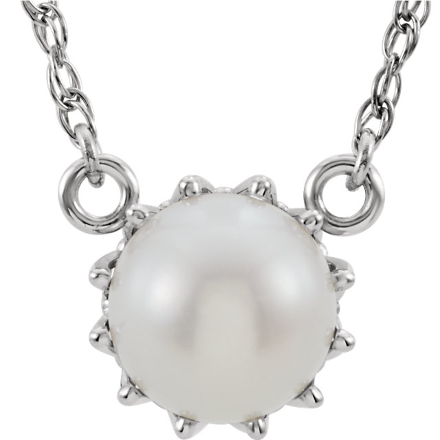 Genuine 14 KT White Gold Freshwater Cultured Pearl 18
