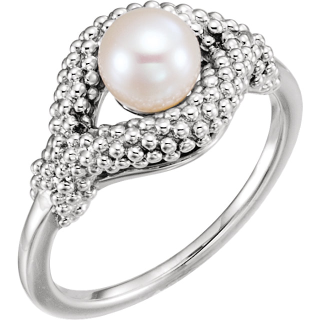 Easy Gift in 14 Karat White Gold Freshwater Cultured Pearl Beaded Ring