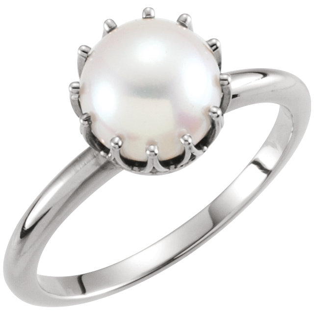 Amazing 14 KT White Gold Genuine Freshwater Cultured Pearl Ring