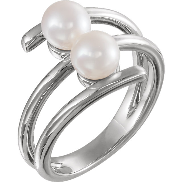 Appealing Jewelry in 14 Karat White Gold Freshwater Cultured Pearl Ring