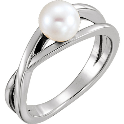 Surprise Her with  14 Karat White Gold Freshwater Cultured Pearl Solitaire Ring