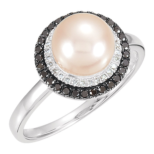 Deal on 14 KT White Gold Freshwater Cultured Pearl & 0.25 Carat TW Black & White Diamond Ring