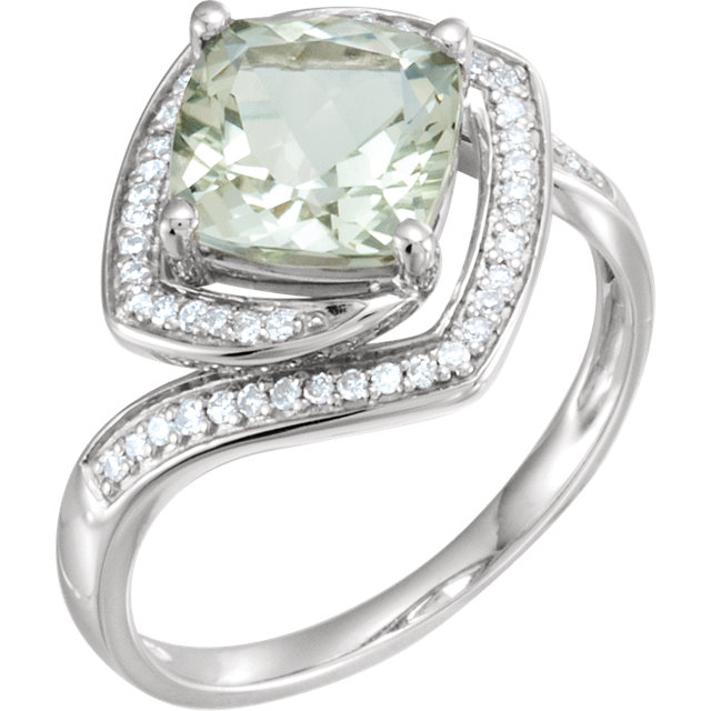 Appealing Jewelry in 14 Karat White Gold Green Quartz & 0.17 Carat Total Weight Diamond Ring