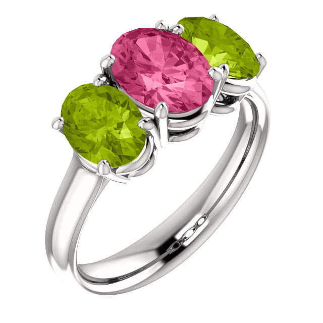 Chic 14 Karat White Gold Imitation Pink Tourmaline & Imitation Peridot Ring