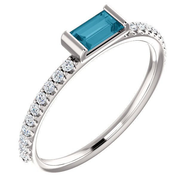 Graceful 14 Karat White Gold Straight Baguette Genuine London Blue Topaz & 1/6 Carat Total Weight Diamond Stackable Ring