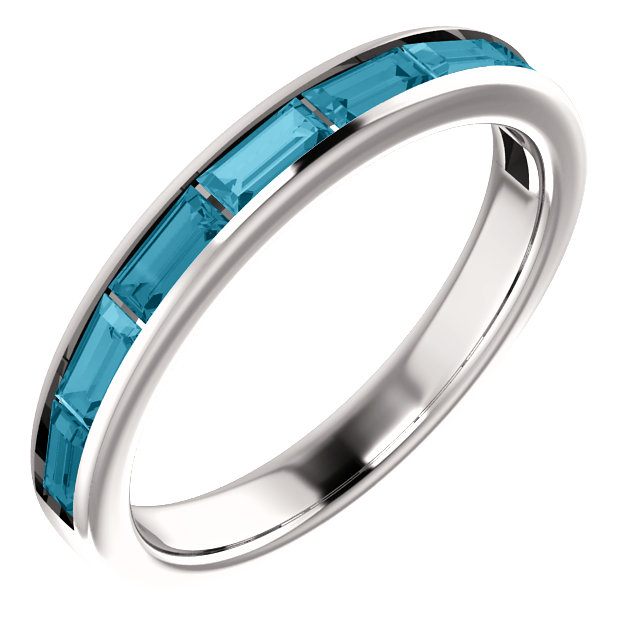 Must See 14 Karat White Gold London Blue Topaz Ring
