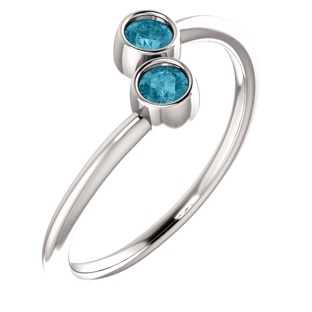 Wonderful 14 Karat White Gold Round Genuine London Blue Topaz Two-Stone Ring