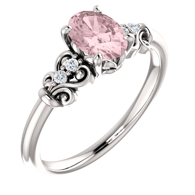 Genuine 14 Karat White Gold Morganite & .04 Carat Diamond Ring