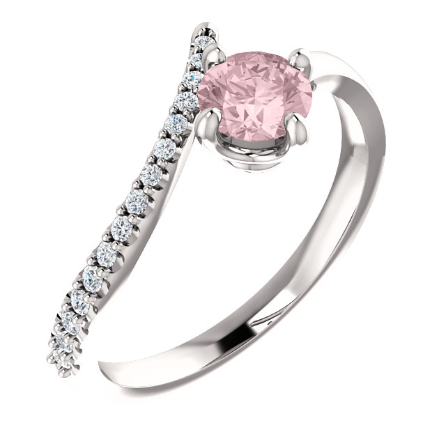Low Price on Quality 14 KT White Gold Morganite & 0.10 Carat TW Diamond Bypass Ring