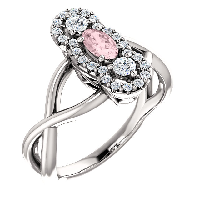 Quality 14 KT White Gold Morganite & 0.25 Carat TW Diamond Ring