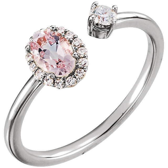 Jewelry Find 14 KT White Gold Morganite & 0.17 Carat TW Diamond Ring