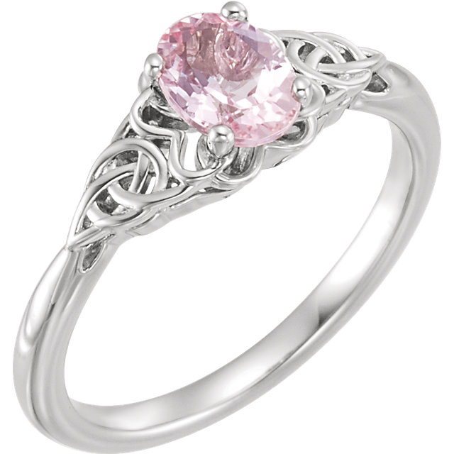 Must See 14 Karat White Gold Morganite Celtic-Inspired Ring