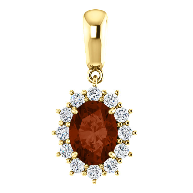 Great Buy in 14 Karat White Gold Mozambique Garnet & 0.33 Carat Total Weight Diamond Pendant
