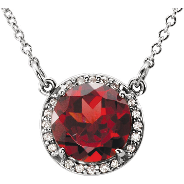 Beautiful 14 Karat White Gold 6mm Round Mozambique Garnet & .04 Carat Total Weight Diamond 16