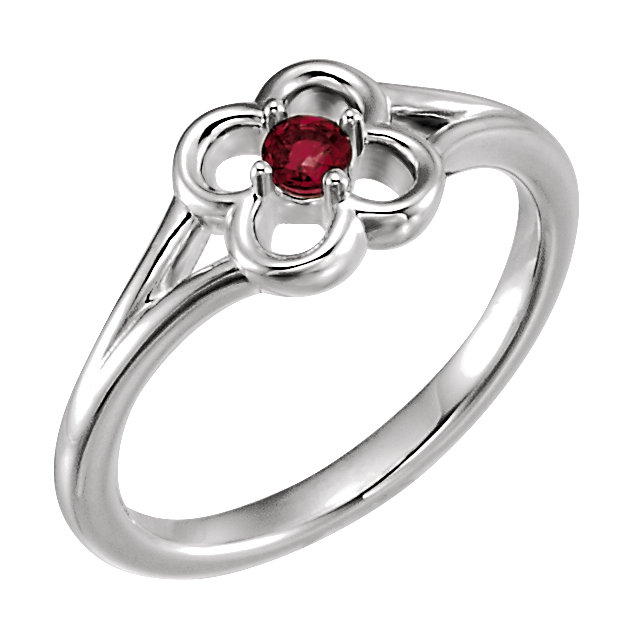 Quality 14 KT White Gold Mozambique Garnet Flower Youth Ring