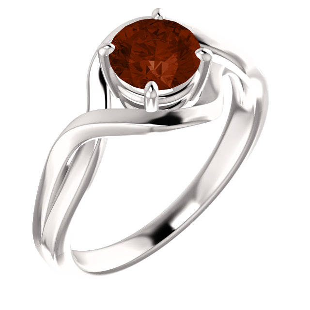 Perfect Gift Idea in 14 Karat White Gold Mozambique Garnet Ring