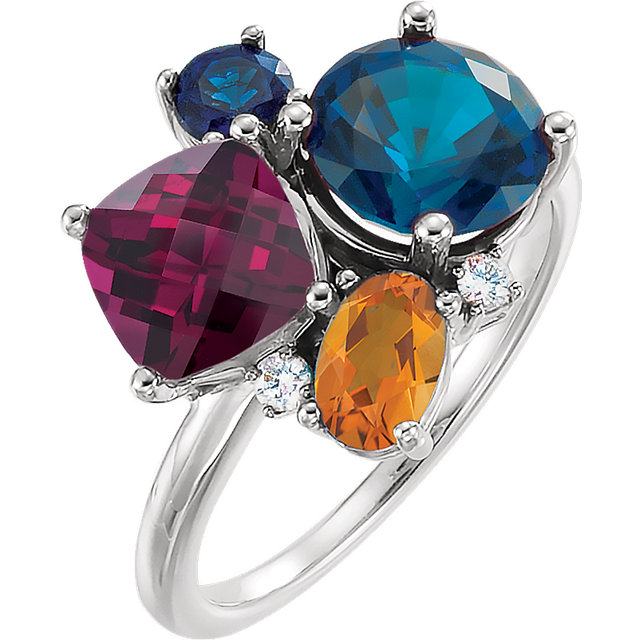Appealing Jewelry in 14 Karat White Gold Multi-gemstone & .05 Carat Total Weight Diamond Ring
