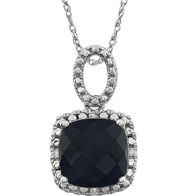 14 KT White Gold Onyx & .03 Carat TW Diamond 18