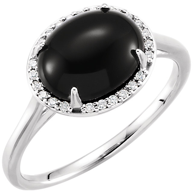 Gorgeous 14 Karat White Gold Onyx & .04 Carat Total Weight Diamond Ring