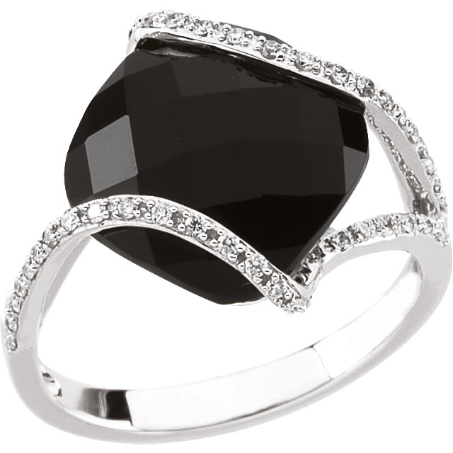 Black Black Onyx Ring in 14 Karat White Gold Onyx & 1/5 Carat Diamond Ring Size 4.25