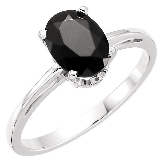 Trendy 14 Karat White Gold Oval Genuine Onyx Ring