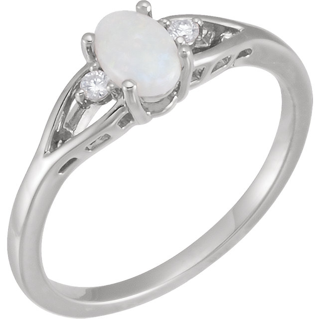 Perfect Gift Idea in 14 Karat White Gold Opal & .04 Carat Total Weight Diamond Ring