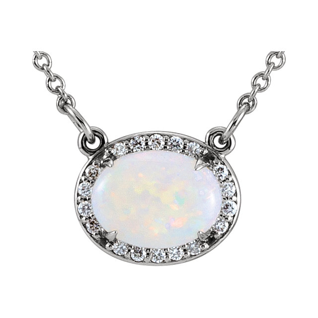 Wonderful 14 Karat White Gold Opal & .05 Carat Total Weight Diamond Halo-Style 16.5