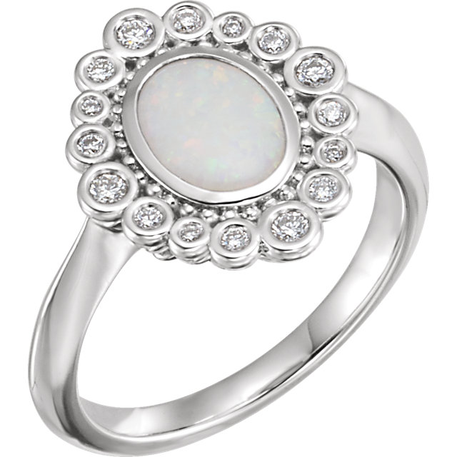 Chic 14 Karat White Gold Opal & 0.17 Carat Total Weight Diamond Ring