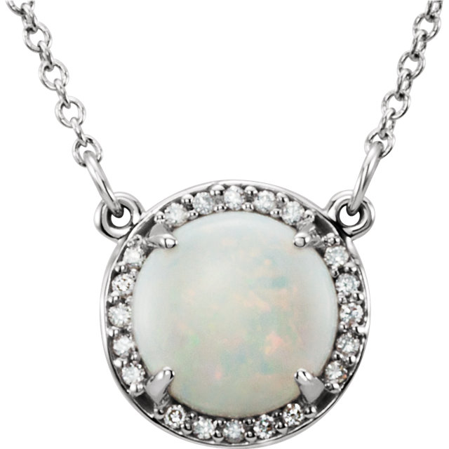 Amazing 14 Karat White Gold Round Genuine Opal and .04 Carat Total Weight Diamond Necklace