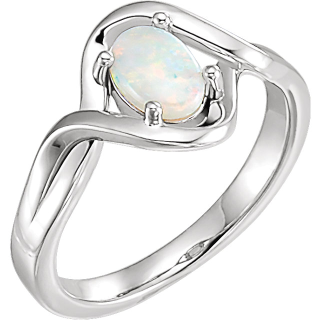Must See 14 Karat White Gold Opal Freeform Ring