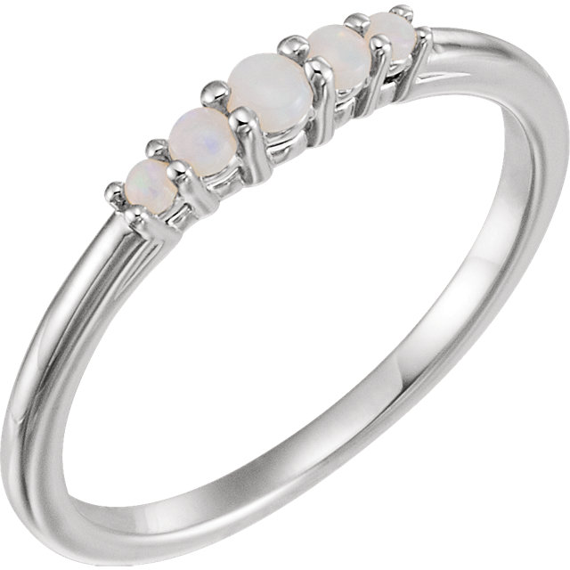 Stunning 14 Karat White Gold Opal Graduated Five-Stone Ring