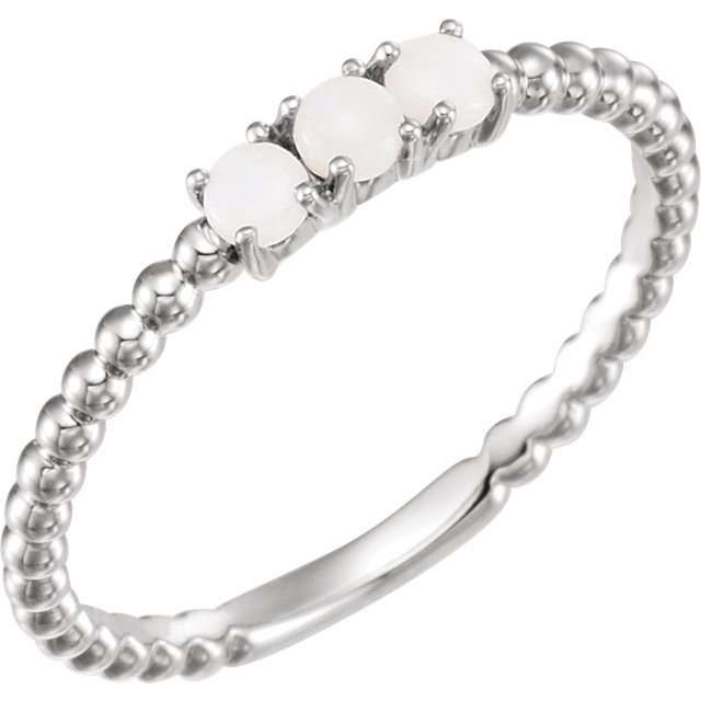 Easy Gift in 14 Karat White Gold Opal Stackable Beaded Ring