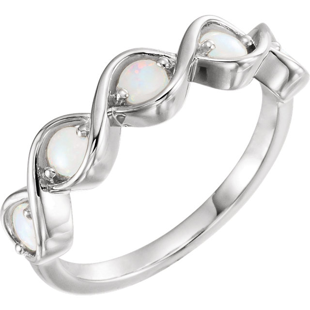 Great Buy in 14 KT White Gold Opal Stackable Ring