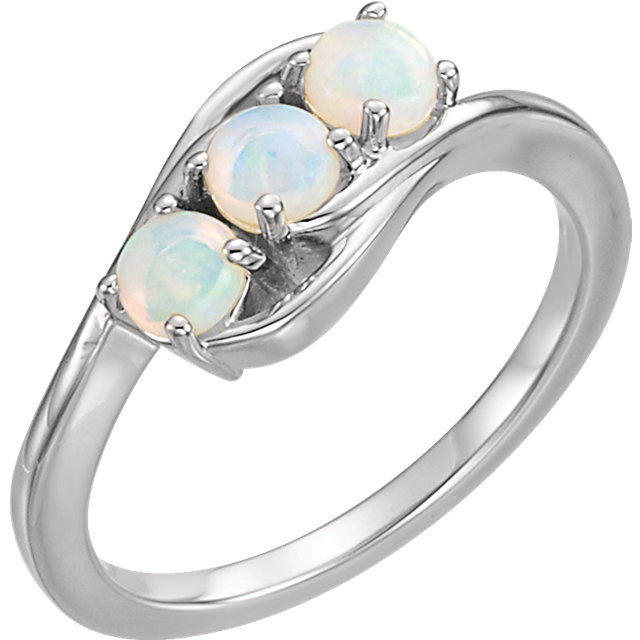 Appealing Jewelry in 14 Karat White Gold Opal Three-Stone Ring