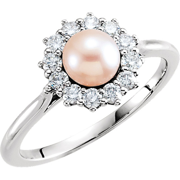 14 Karat White Gold Pearl & 3/8 Carat Total Weight Diamond Ring
