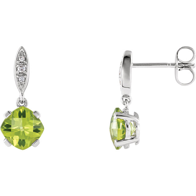 Stunning 14 Karat White Gold Peridot & .04 Carat Total Weight Diamond Earrings