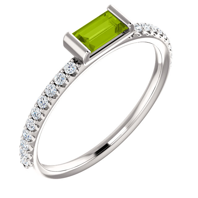 Trendy 14 Karat White Gold Straight Baguette Genuine Peridot & 1/6 Carat Total Weight Diamond Stackable Ring