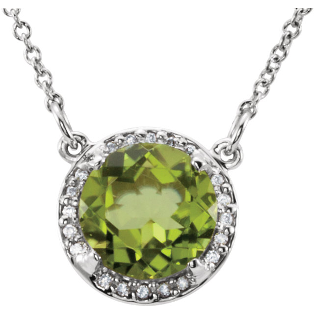 Fine Quality 14 Karat White Gold 7mm Round Peridot & .04 Carat Total Weight Diamond 16