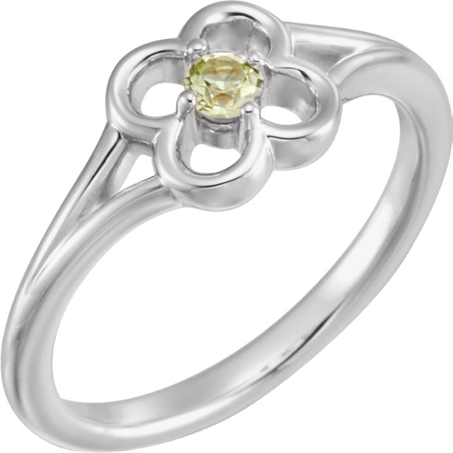 Eye Catching 14 Karat White Gold Round Genuine Peridot Flower Youth Ring