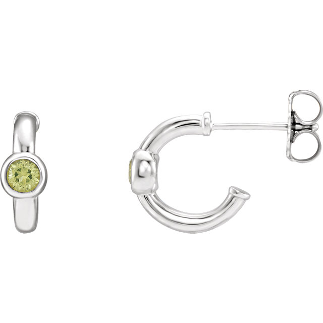 Wonderful 14 Karat White Gold Peridot J-Hoop Earrings