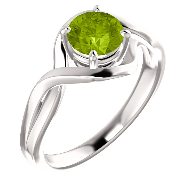 Magnificent 14 Karat White Gold Round Genuine Peridot Ring