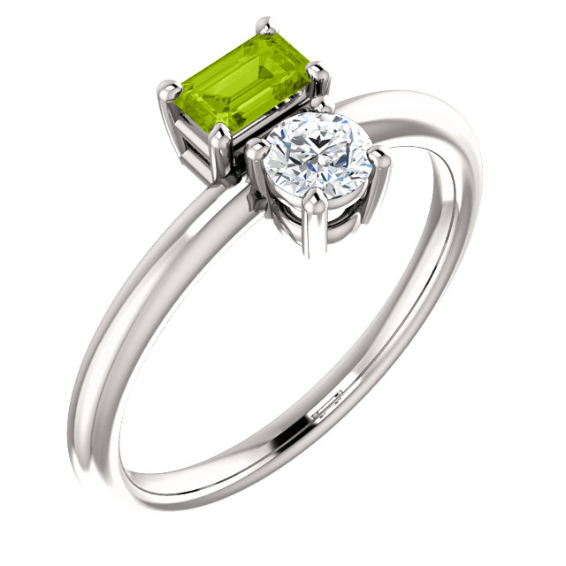 Gorgeous 14 Karat White Gold Peridot & Sapphire Two-Stone Ring