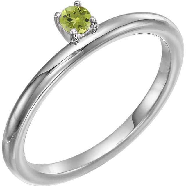 Excellent 14 Karat White Gold Round Genuine Peridot Stackable Ring