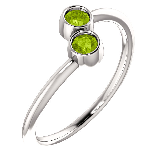 Graceful 14 Karat White Gold Round Genuine Peridot Two-Stone Ring